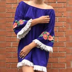 [Umgee] Royal Blue Embroidered Sleeve Dress Small